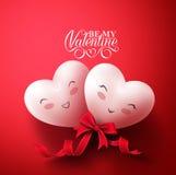 Γλυκές καρδιές χαμόγελου των ευτυχών εραστών για τους ευτυχείς χαιρετισμούς ημέρας βαλεντίνων Στοκ εικόνες με δικαίωμα ελεύθερης χρήσης