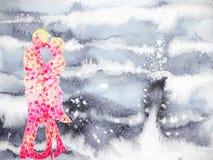 Γλυκιά αγάπη εραστών ζεύγους στο σχέδιο χεριών ζωγραφικής χειμερινού watercolor Στοκ Εικόνα