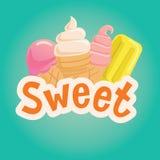 Γλυκιά ετικέτα με το παγωτό επίσης corel σύρετε το διάνυσμα απεικόνισης Στοκ εικόνα με δικαίωμα ελεύθερης χρήσης
