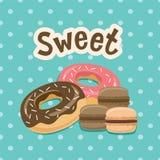 Γλυκιά ετικέτα με doughnut στο υπόβαθρο Πόλκα-σημείων επίσης corel σύρετε το διάνυσμα απεικόνισης Στοκ Φωτογραφίες