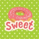 Γλυκιά ετικέτα με doughnut στο υπόβαθρο Πόλκα-σημείων επίσης corel σύρετε το διάνυσμα απεικόνισης Στοκ εικόνες με δικαίωμα ελεύθερης χρήσης