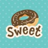 Γλυκιά ετικέτα με doughnut στο υπόβαθρο Πόλκα-σημείων επίσης corel σύρετε το διάνυσμα απεικόνισης Στοκ εικόνα με δικαίωμα ελεύθερης χρήσης