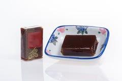 Γλυκιά ζελατίνα φασολιών στο μικρό πιάτο Στοκ Φωτογραφίες