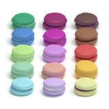Γλυκιά ζωηρόχρωμη βιομηχανία ζαχαρωδών προϊόντων macarons fondant σοκολάτας γαλλική πουτίγκα Στοκ Φωτογραφία