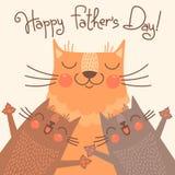 Γλυκιά κάρτα για την ημέρα πατέρων με τις γάτες Στοκ φωτογραφία με δικαίωμα ελεύθερης χρήσης