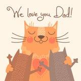Γλυκιά κάρτα για την ημέρα πατέρων με τις γάτες Στοκ Φωτογραφίες