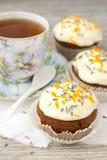Γλυκιά κολοκύθα cupcake με την τήξη τυριών κρέμας Στοκ φωτογραφία με δικαίωμα ελεύθερης χρήσης