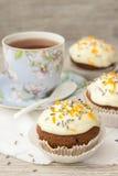 Γλυκιά κολοκύθα cupcake με την τήξη τυριών κρέμας Στοκ Εικόνες