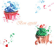 Γλυκιά κρέμα δύο cupcakes Στοκ φωτογραφίες με δικαίωμα ελεύθερης χρήσης