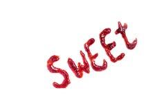 Γλυκιά ορθογραφία λέξης με τη μαρμελάδα Στοκ φωτογραφία με δικαίωμα ελεύθερης χρήσης