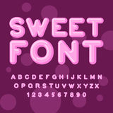 Γλυκιά πηγή Ρόδινες επιστολές Lollipops ABC της καραμέλας Ασβέστιο Στοκ Εικόνες