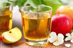 Γλυκοί χυμός μήλων, μήλα και λουλούδια στον πίνακα Στοκ εικόνα με δικαίωμα ελεύθερης χρήσης