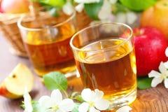 Γλυκοί χυμός μήλων, μήλα και λουλούδια στον πίνακα Στοκ Εικόνες