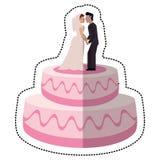γλυκός γάμος κέικ με το ζεύγος Στοκ φωτογραφία με δικαίωμα ελεύθερης χρήσης
