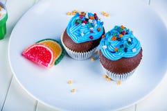 Γλυκός κόσμος καραμελών, muffins Στοκ Εικόνα