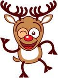 Γλυκός τάρανδος Χριστουγέννων που χαμογελά και που κλείνει το μάτι Στοκ Εικόνα