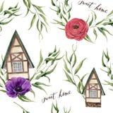 Γλυκό άνευ ραφής σχέδιο εγχώριου watercolor Το σπίτι Watercolor στο αλπικό ύφος με τα φύλλα ευκαλύπτων, τα λουλούδια anemone και  Στοκ Φωτογραφίες