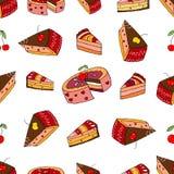 Γλυκό άνευ ραφής σχέδιο κέικ Στοκ Εικόνες
