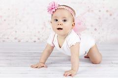 Γλυκό λίγο μωρό με τα φτερά πεταλούδων Στοκ Εικόνα