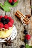 Γλυκό κέικ που διακοσμείται με τα δασικά φρούτα Στοκ εικόνα με δικαίωμα ελεύθερης χρήσης