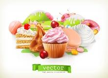 γλυκό καταστημάτων Βιομηχανία ζαχαρωδών προϊόντων και επιδόρπια, κέικ, cupcake, καραμέλα, καραμέλα επίσης corel σύρετε το διάνυσμ διανυσματική απεικόνιση