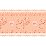 Γλυκό κεράσι, ρόδινο γράφοντας λογότυπο στην άνευ ραφής λουρίδα πλαισίων κερασιών Στοκ εικόνες με δικαίωμα ελεύθερης χρήσης