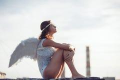 Γλυκό κορίτσι αγγέλου Στοκ Φωτογραφία