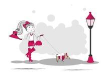 Γλυκό κορίτσι και το σκυλί της Στοκ εικόνα με δικαίωμα ελεύθερης χρήσης