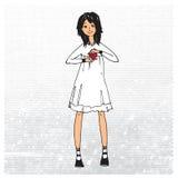 Γλυκό κορίτσι με το κόκκινο σύμβολο καρδιών της αγάπης Στοκ Εικόνες