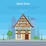 Γλυκό πρότυπο αφισών εμβλημάτων εγχώριων σπιτιών διάνυσμα Στοκ Εικόνες