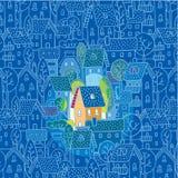 Γλυκό σπίτι. Ευχετήρια κάρτα ελεύθερη απεικόνιση δικαιώματος
