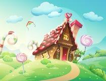 Γλυκό σπίτι των μπισκότων και της καραμέλας σε ένα υπόβαθρο των λιβαδιών και των καραμελών ανάπτυξης διανυσματική απεικόνιση