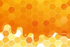 Γλυκό στιλπνό υπόβαθρο μελιού με το διάστημα αντιγράφων για το κείμενό σας Συμπεριλαμβανόμενο άνευ ραφής σχέδιο με την κηρήθρα Στοκ Εικόνες