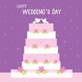 Γλυκό χαριτωμένο διάνυσμα κινούμενων σχεδίων γαμήλιων λουλουδιών κέικ ελεύθερη απεικόνιση δικαιώματος