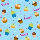 Γλυκό χαριτωμένο διάνυσμα σχεδίου τυλίγματος δώρων κινούμενων σχεδίων Cupcake απεικόνιση αποθεμάτων