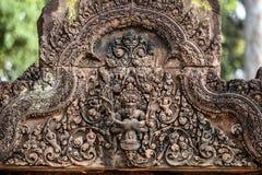Γλυπτά στο ναό Banteay Srei, Angor Wat Καμπότζη Στοκ φωτογραφίες με δικαίωμα ελεύθερης χρήσης