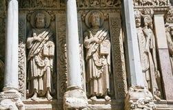 γλυπτά τοίχων της εκκλησίας του ST Trophime σε Arles Στοκ Φωτογραφία