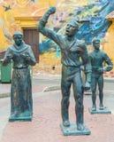 Γλυπτά χαλκού στο Λα Τρινιδάδ Plaza de σε Getsemani, Cartagen Στοκ εικόνες με δικαίωμα ελεύθερης χρήσης
