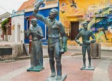 Γλυπτά χαλκού στο Λα Τρινιδάδ Plaza de σε Getsemani, Cartagen Στοκ Φωτογραφίες