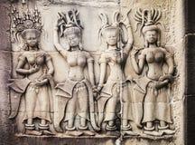 Γλυπτικές των γυναικών σε Angkor Wat Στοκ Εικόνες