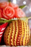 Γλυπτικές φρούτων στον πίνακα μπουφέδων Στοκ Φωτογραφίες