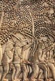 Γλυπτική τοίχων του ναού Prasat Bayon, Angkor Wat σύνθετο, Cambodi Στοκ εικόνα με δικαίωμα ελεύθερης χρήσης