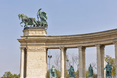 Γλυπτό ειρήνης Τετραγωνικό μνημείο χιλιετίας ηρώων στη Βουδαπέστη, Ουγγαρία Στοκ φωτογραφίες με δικαίωμα ελεύθερης χρήσης