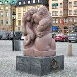 Γλυπτό Θεών θάλασσας στην αποβάθρα Skeppsbrokajen της Στοκχόλμης, Σουηδία Στοκ Φωτογραφία