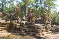 Γλυπτό λιονταριών σε Ankor Thom Καμπότζη Στοκ εικόνες με δικαίωμα ελεύθερης χρήσης