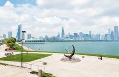 Γλυπτό χαλκού που βρίσκεται στη λίμνη Μίτσιγκαν, Σικάγο, ΗΠΑ Στοκ Εικόνες