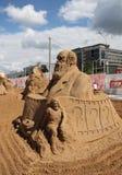 Γλυπτό Charles Δαρβίνος άμμου στο φεστιβάλ Στοκ Φωτογραφίες