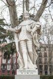 Γλυπτό Fernan Gonzalez της Καστίλλης Plaza de Oriente, τρελλός Στοκ Φωτογραφία