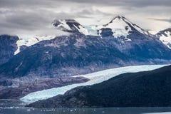 Γλώσσα πάγου του γκρίζου παγετώνα Torres del Paine τη νεφελώδη ημέρα Στοκ Εικόνα