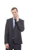 Γλώσσα του σώματος άτομο στο επιχειρησιακό κοστούμι που απομονώνεται επάνω στοκ φωτογραφίες με δικαίωμα ελεύθερης χρήσης